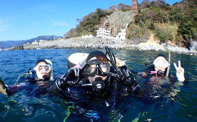海洋実習で海に潜る